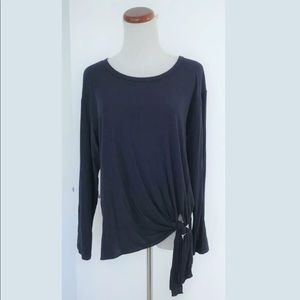 THEORY Navy Serah K Side Tie Long Sleeve Top